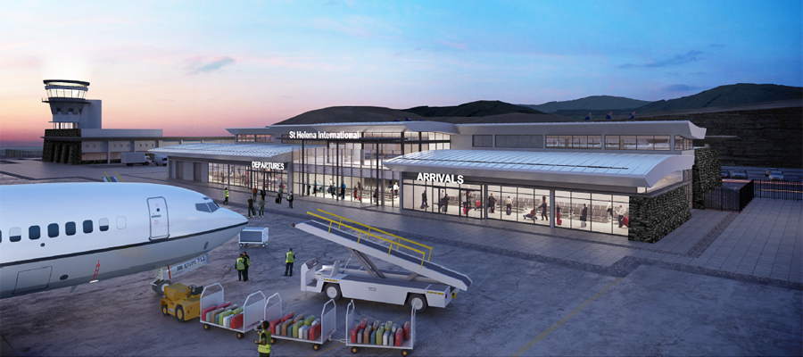 Digital impression of the airport building, all on one lever apart from the control tower