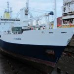 The RMS St Helena in dry dock