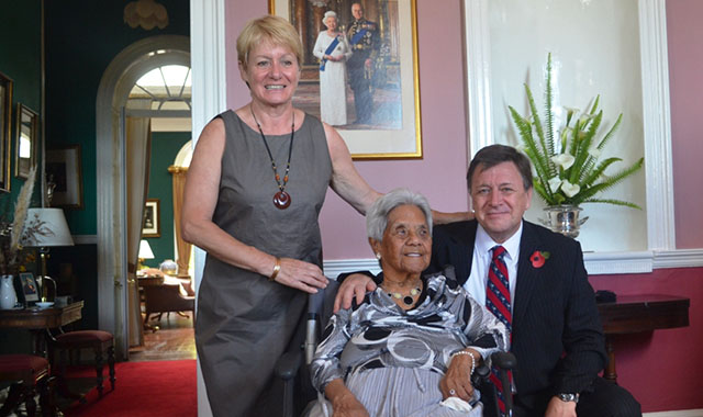 Ma Flo with Governor Mark Capes and his wife, Tamara