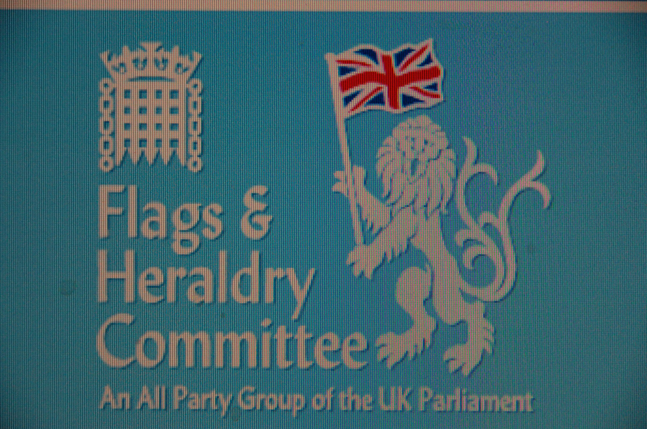 The crest of the Parliamentary flags group features a lion waving a flag (screen grab)