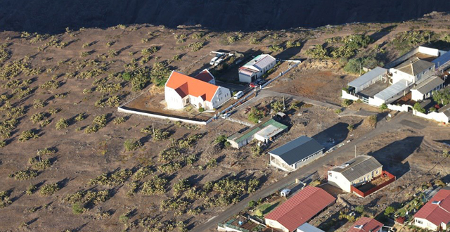 """Sundale House (walled compound, top right) and Jamestown prison are both """"unfit for use"""". Aerial picture: Rémi Bruneton"""