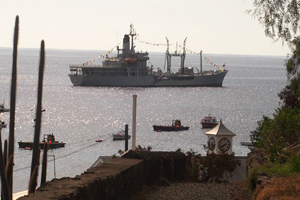 RFA Black Rover was decked out for the occasion. Picture: Neil George